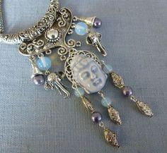"""Collier inspiration Inde """"UDAIPUR"""" style Asiatique,Bouddha céramique artisanale,métal argenté ouvragé : Collier par bleusoupir"""