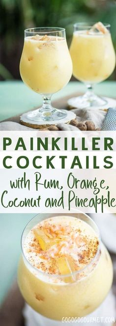 If you're looking for a great warm weather cocktail, make these Painkiller Drinks! Coconut, pineapple, rum, and orange- what's not to love? via and Drink poster cocktail recipes The Painkiller Drink Go Go Go Gourmet Liquor Drinks, Cocktail Drinks, Beverages, Vodka Cocktails, Party Drinks, Vodka Martini, Martinis, Cocktail Recipes With Rum, Cocktail Shaker Recipes