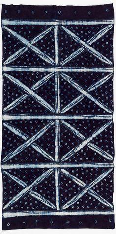 Africa | Adire cloth from the Yoruba people of Nigeria | ca. 1950s | Cotton; indigo resist