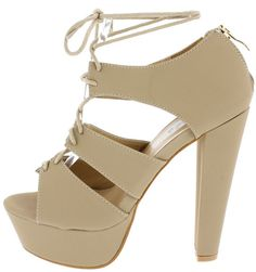 Pump up the volume in these fabulous heels! ◦Features an open toe and a platform heel silhouette. ◦An adjustable lace up front for added comfort. ◦A zipper on the back of the heel for an easy on and off. Man made materials. Approximate heel height 5 1/2 inches. Approximate platfor...