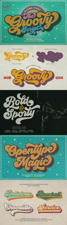 Groovy - Groovy is one of my fonts based on a hand lettering project in 2017. It was very inspired from the famous retro typography designs in late 60's untill 70's. Groovy also comes with extra Extruded Font version. So you won't need extra effort for create an extrude effect for this font. That's mean it will saves your time. Total 593 glyphs was crafted inside Groovy and Some OpenType Features also added to this bold and sporty font. The Features includes: Stylistic Alternates, Swashes…