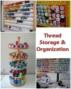 Tangled threads? Here are some thread storage and organization photos to inspire you in your sewing room!