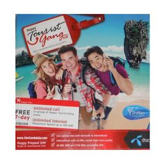 DTAC Happy Tourist Gang SIM Card with 7 days FREE internet access!! Sims, Thailand, Internet, Baseball Cards, Day, Free