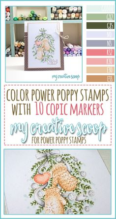Coloring Power Poppy Stamps only using 10 Copic Markers