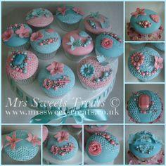 Vintage Pink & Blue Cupcakes
