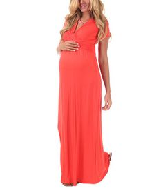 This PinkBlush Maternity Coral Drape Maternity Maxi Dress by PinkBlush Maternity is perfect! #zulilyfinds