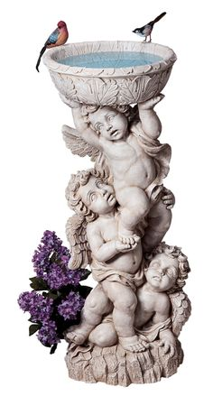 Design Toscano - Three Cherub with Urn 14 in. W x 11 in. H Garden Statue - Cast in quality designer resin. Hand-painted one piece at a time. Angel Sculpture, Sculpture Art, Sculptures, Angel Garden Statues, Garden Angels, Cherub Baby, Bird Bath Garden, Garden Water, Garden Planters