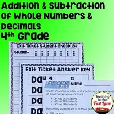Addition and Subtraction of Whole Numbers and Decimals Unit with Lesson Plans Division Math Games, Math Blocks, Math Stations, Math Centers, Framed Words, Teaching Strategies, Teaching Resources, Math Graphic Organizers, Math Lesson Plans