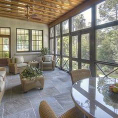 To help outline some of the practicalities, and frankly some eye-popping designs, of screened in porches, here are 8 examples of how a screened in porch can be a defining element to any outdoor living space. Screened Porch Designs, Screened In Porch, Front Verandah, Front Porch, Porch Flooring, Stone Flooring, Flooring Ideas, Outdoor Rooms, Gardens