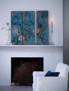 Bird and Flowers Wooden Wall Panels from cox and cox