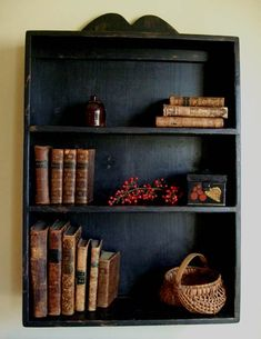 love prim bookcase and antique books and collectibles Primitive Shelves, Primitive Furniture, Primitive Antiques, Country Primitive, Primitive Decor, Wood Furniture, Curio Cabinets, Cupboards, Kitchen Cabinets
