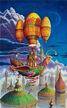 Painted by Randal Spangler, the Voyage Of The Flying Griffen wall mural from Murals Your Way will add a distinctive touch to any room. Art Steampunk, Steampunk Airship, Dieselpunk, Art Et Illustration, Illustrations, Dragon Cat, Art Fantaisiste, Murals Your Way, Dragons