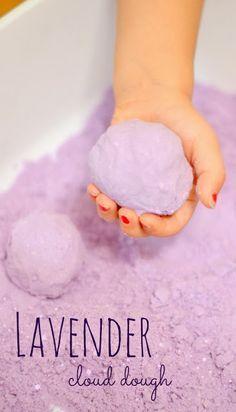 must try! Lavender cloud dough is therapeutic and helps soothe, calm, and relax little ones.  It is AMAZING the effect this cloud dough has on chilling out my kids and refocusing their energies in positive ways.  {Great for time out, just before bed time, and anytime you need to calm kids down}