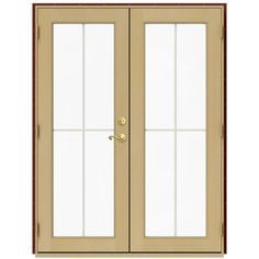 JELD-WEN 59.5 in. x 79.5 in. W-2500 Mesa Red Right-Hand Inswing French Wood Patio Door