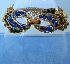 LISNER RHINESTONE BRACELET Blue & Green Rhinestones Gold  Tone Chains Vintage  Designer Costume Jewelry on Etsy $32.99 by pegi16