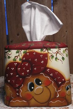 Gingerbread Hand Painted Metal Tissue Box by PaintingByEileen, $18.00