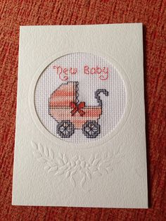 Handmade Cross Stitched New Baby card on Etsy, £1.50