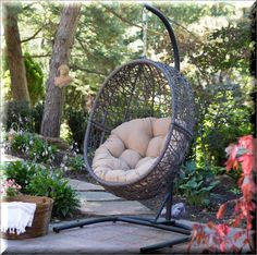 Hanging Wicker Egg Chair With Stand Cushion Brown Outdoor Patio Porch Swinging   eBay