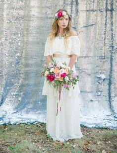 bohemian valentine's day inspired bride