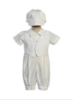 Lito Cotton-Poly Christening Romper and Embroidered Vest