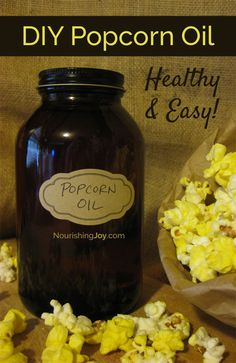 Homemade Movie-Style Popcorn Oil Make your own healthy DIY popcorn oil for delicious popcorn! Healthy Popcorn, Homemade Popcorn, Popcorn Snacks, Flavored Popcorn, Homemade Spices, Popcorn Recipes, Homemade Butter, Snack Recipes, Popcorn Oil