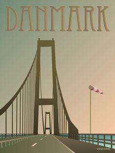 Vissevasse plakat DANMARK - BROEN  Den smukkeste køretur i solopgangen....Og den mest nervepirrende tur i hård kuling. Storebæltsbroen -  en fantastisk flot og langstrakt fyr, som forbinder Sjælland og Fyn