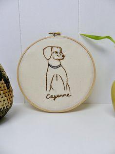 Personalized Pet Portrait. Dogs. Cats.  Embroidered Wall Art. Embroidery Hoop Art. Hand Embroidered.  Pet Art. Personalized Pet Portrait. (c) Blue Leaf Boutique