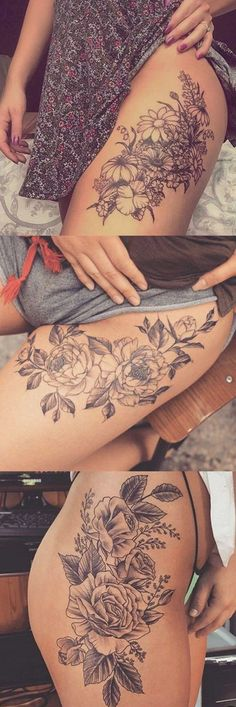 Wild Rose Thigh Tattoo Ideas at MyBodiArt.com - Delicate Floral Flower Leg Tatt for Women