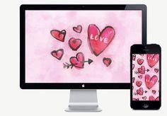 February desktop wallpaper #freebie #download #hearts #watercolor #pink