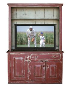 Primitive TV Lift Cabinet Early New England-style Hutch Red on Tan on Brown Museum Finish
