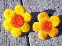 Ponytail Holder Flower Yellow & Orange Handmade by TwiceNicePurses, $6.00