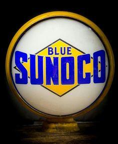 Original Blue Sunoco Gas Globe