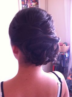 Bridesmaid hair up by Rachael white freelance stylist Rustic, updo, natural.