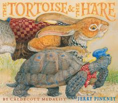 The lesson taken from the race of mismatched opponents has served me well again and again over the years.  Jerry Pinkney's latest release, The Tortoise & The Hare (Little, Brown and Company) is a gorgeous retelling of a cherished tale, a companion to his Caldecott Medal winner, The Mouse & The Lion.