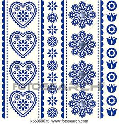 Embroidery Folk Scandinavian seamless folk art vector pattern with flowers and hearts, Nordic ornament design - long stripes View Large Clip Art Graphic - Traditional floral navy blue background, retro style inspired by embroidery from Sweden and Norway Folk Art Flowers, Flower Art, Vector Pattern, Pattern Art, Folk Embroidery, Embroidery Patterns, Scandinavian Folk Art, Scandinavian Pattern, 3d Cnc