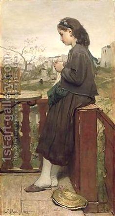 Jacob Henricus Maris:Girl knitting on the balcony Montmartre 1869