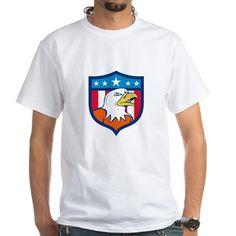 American Bald Eagle Head Angry Flag Crest Cartoon