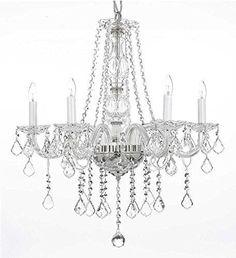 "Swarovski Crystal Trimmed Chandelier! Crystal Chandelier Lighting H25"" X W24"" - G46-B26/384/5 Sw"
