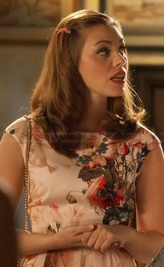 Annabeth's peach floral dress and blue necklace on Hart of Dixie.  Outfit Details: http://wornontv.net/21491/ #HartofDixie