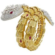 7370ff809b89 Bulgari Diamond and Ruby Serpenti Gold Bracelet Snake Jewelry