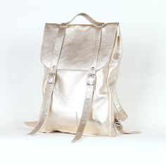 Gold middle size leather backpack rucksack / To order by kokosina