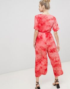 Glamorous Jumpsuit With Wrap Front In Tie Dye
