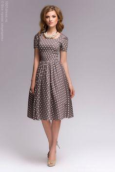 Платье бежевое в горошек в ретро-стиле , бежевый в интернет магазине Платья для самых красивых 1001dress.Ru