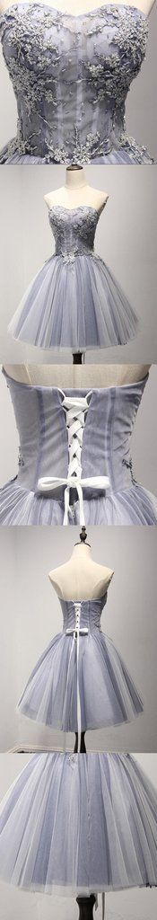 Strapless See Through Gray Lace Homecoming Prom Dresses, Affordable Short Party Corset Back Prom Dresses, Perfect Homecoming Dresses, CM221