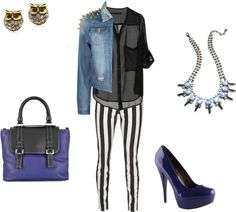 """""""Black and Blue tendency"""" by naymoda on Polyvore"""