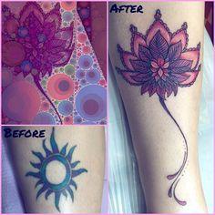 Goodbye Tribal Sun Hello Radiant Pink Lotus! #coverup #tattoo #tattooer #tattoomedicine #medicinetattoo #lotustattoo #tattoocoverup #spirittattooing