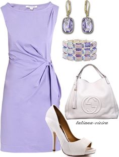 Lilac Prettiness~Ooooooh or THIS dress for my bridal shower! SO pretty and the jewelry and shoes amazing omg love Dressy Outfits, Chic Outfits, Fashion Outfits, Womens Fashion, My Bridal Shower, Corporate Attire, White Cocktail Dress, Business Outfits, Work Fashion