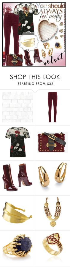 """""""Velvet"""" by jeneric2015 ❤ liked on Polyvore featuring Tempaper, AG Adriano Goldschmied, M&Co, Prada, Valentino, Palm Beach Jewelry, Jane Diaz, Ottoman Hands, Foundrae and velvet"""