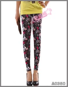 Fashion Floral Flower Pattern Leggings For Women $9.58