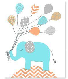 Aqua Gray Orange Nursery Elephant Nursery by SweetPeaNurseryArt